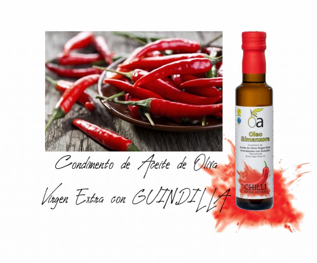 Conduimento de aceite d eoliva virgen extra con guindilla aromatizazdo picante chilli