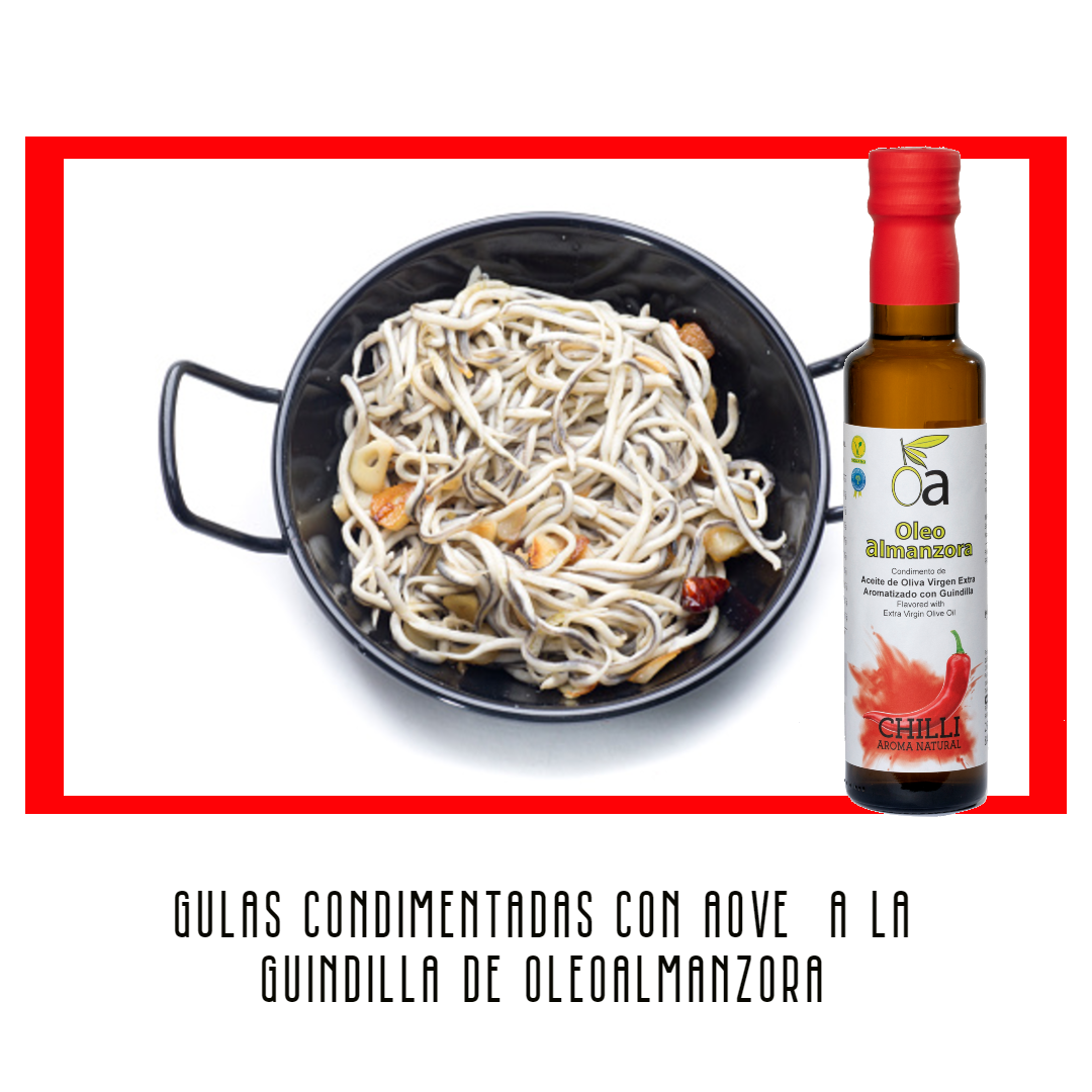 Gulas con ajo y condimento de aceite de oliva virgen extra con guindilla chilli picante